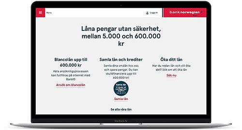 Låna upp till 600 000 kr utan säkerhet hos Bank Norwegian