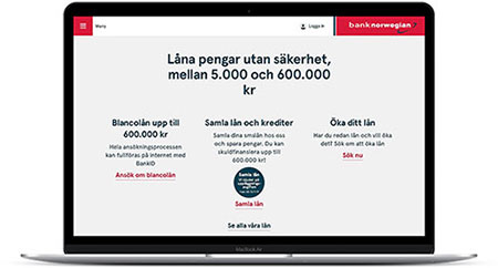 Bank Norwegian erbjuder privatlån med mycket korta behandlingstider