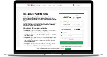 Ansök om konsumtionslån på belopp upp till 600 000 kr via Sambla
